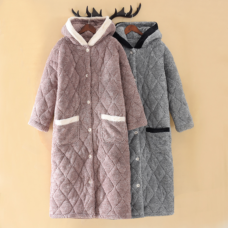 Male Winter Robe Men Coral Velvet With Cotton Hooded Warm Bathrobe Women Simple Plaid Thickened Warm Home Wear Dressing Gown