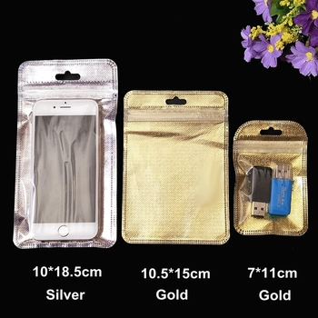1000PCS 3 Sizes Silver Gold Cell Phone Case Ziplock Bags PP Plastic Cell Phone Pouch Bags Accesorries Packaging Sealing Pouch