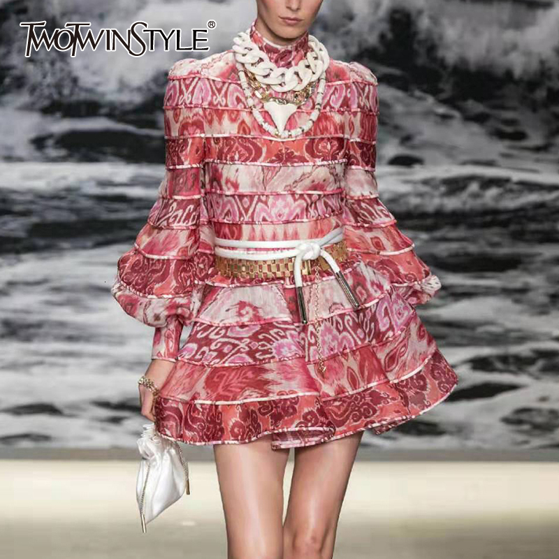 TWOTWINSTYLE Patchwork Print Women's Dress Stand Collar Lantern Long Sleeve High Waist Dresses For Women 2019 Autumn Fashion New