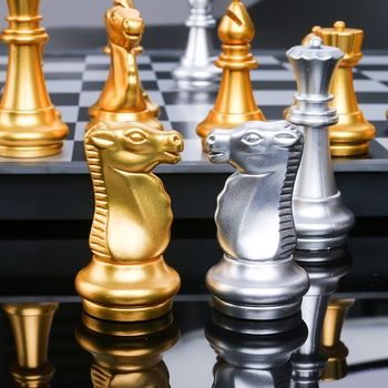 32 Chess Pieces Chessboard Gold Silver Foldable Magnetic Chess Set High-quality Chess Game Medieval Chess Travel Sets Portable yernea chess set for high quality chess game pieces chess magnetic board folding plate large gold silver