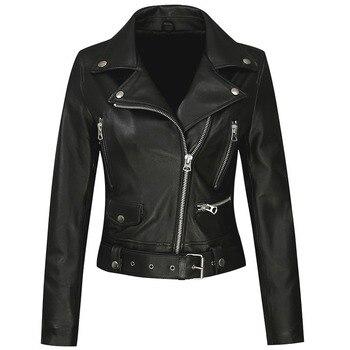 DAJANE Spring Leather Jacket Genuine With Belt Fashion Coat Women Black Leather Slim Jacket Leather Motorcycle Jacket
