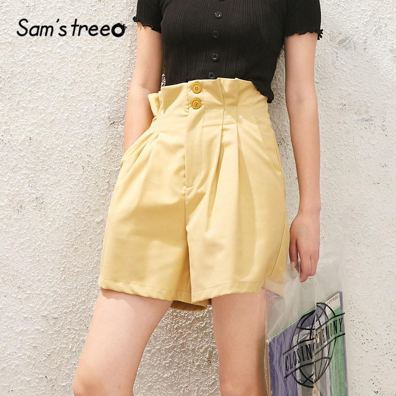 SAM'S TREE Black Solid Chic Button Bud Waist Casual Women Wide Leg Shorts 2020 Spring New Yellow Pure Korean Ladies Daily Bottom