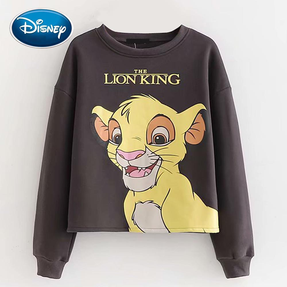 Disney Stylish The Lion King King Of The Jungle Cartoon Letter Print Fleece Casual Women T-Shirt O-Neck Pullover Long Sleeve Top