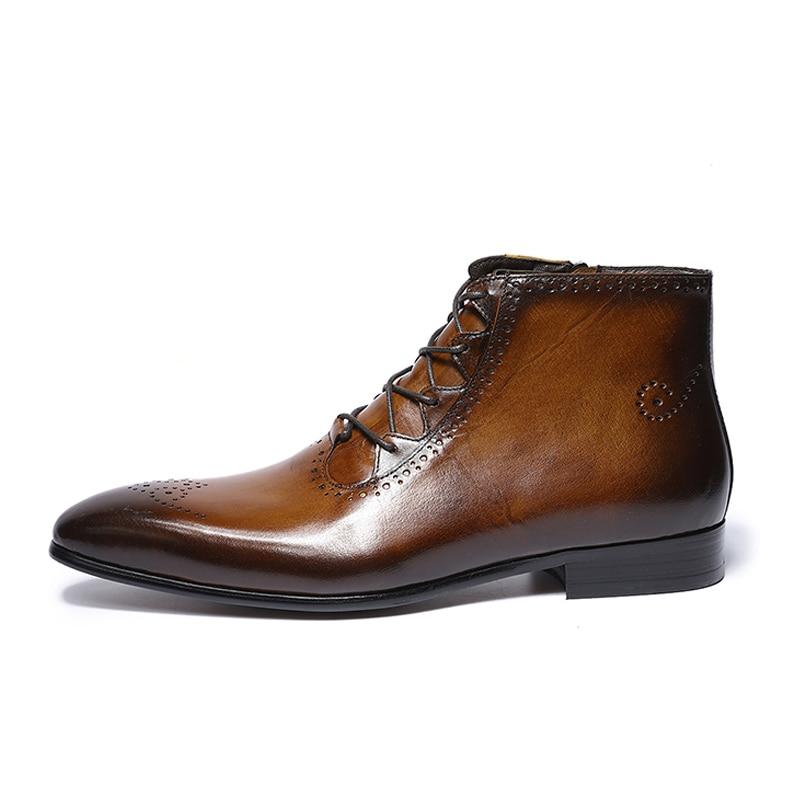 2019 봄 가을 패션 정품 가죽 발목 부츠 높은 상위 레이스 지퍼 공식적인 신발 높은 품질 남성 우편 스트랩 부츠-에서기본 부츠부터 신발 의  그룹 1