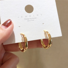 цена на Fashion Elegant Simple Style Geometric Metal  Oval Earrings Temperature Simple Style Stud Earrings For Girl Accessories