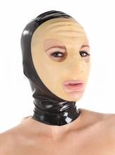 (Latex 32) Catwoman Latex Hood Sexy Latex Rubber Fetish Mask Transparent Face Back Zipper
