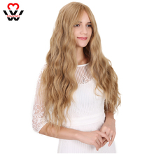 MANWEI Long Water Wave Bangs Hairstyle Red Black Color Synthetic Wigs For Women High Temperature Fiber Average Size
