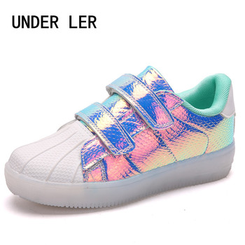 2018 spring new children leisure led girls luminescent sports baby luminous shoes boys glowing kids sneakers lights 2020 New Kids USB Luminous Sneakers Glowing Children Lights Up Shoes With Led Slippers Girls Illuminated Footwear Boys B023