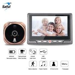 Saful Цифровой глазок видео камера дверной звонок видео-глаз с tf-картой съемки фото дверной глазок просмотра монитор для дома