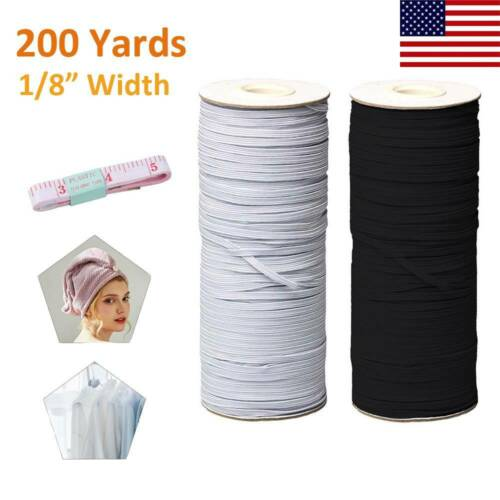 <font><b>Ship</b></font> in 24Hours US 100/200 Yards Black DIY Braided Elastic Band Cord Knit Band Sewing 1/4