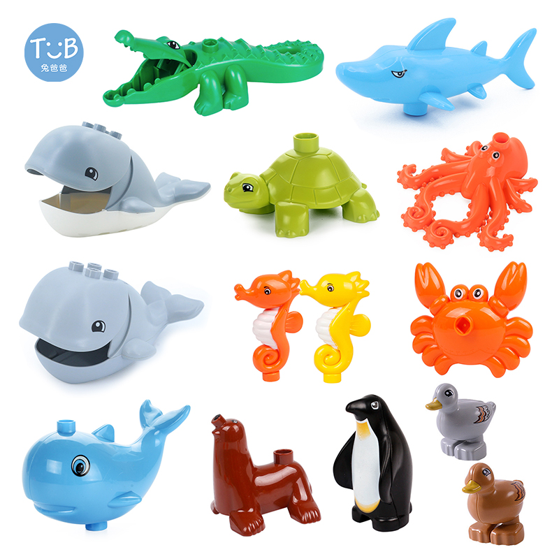 Brick Animal Ocean Building Blocks Series Set Shark Whale Crocodile Turtle Crab Octopus Parts Educational Toys Children Gift