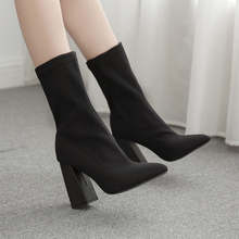 Mid Calf Boots Woman High Heels Shoes Pointed Toe Half Boot Black Elastic Sock Square Heel Booties Plus Size Zapatos De Mujer choudory 2017 fashion runway stretchy sock boots point toe stiletto heel thigh high boot kylie jenner shoes woman crotch booties