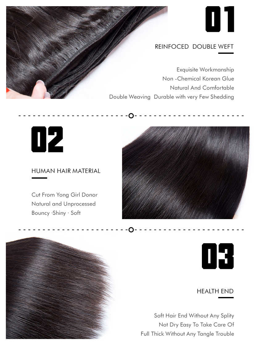 Straight Hair Bundles Indian Human Hair Extensions Natural Color For Black Women Remy VIPbeauty Hair Weave 1/3/4 Pieces