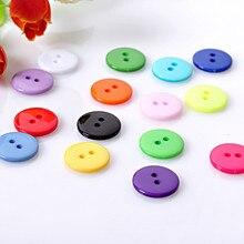 100 Uds botón redondo de 2 agujeros de resina costura Fit vestir álbum de recortes manualidades Diy decoración 9mm/10mm/11,5mm/12,5mm Color mixto