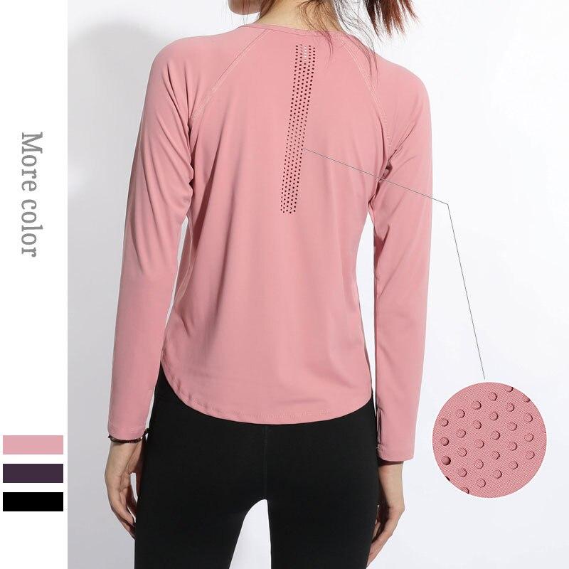 Aptidão para Mulheres T-camisa de Manga Tamanho Grande Esporte Tops Ginásio Longa Mulher Yoga Top Oco Out Respirável Feminino Sportwear S-4xl