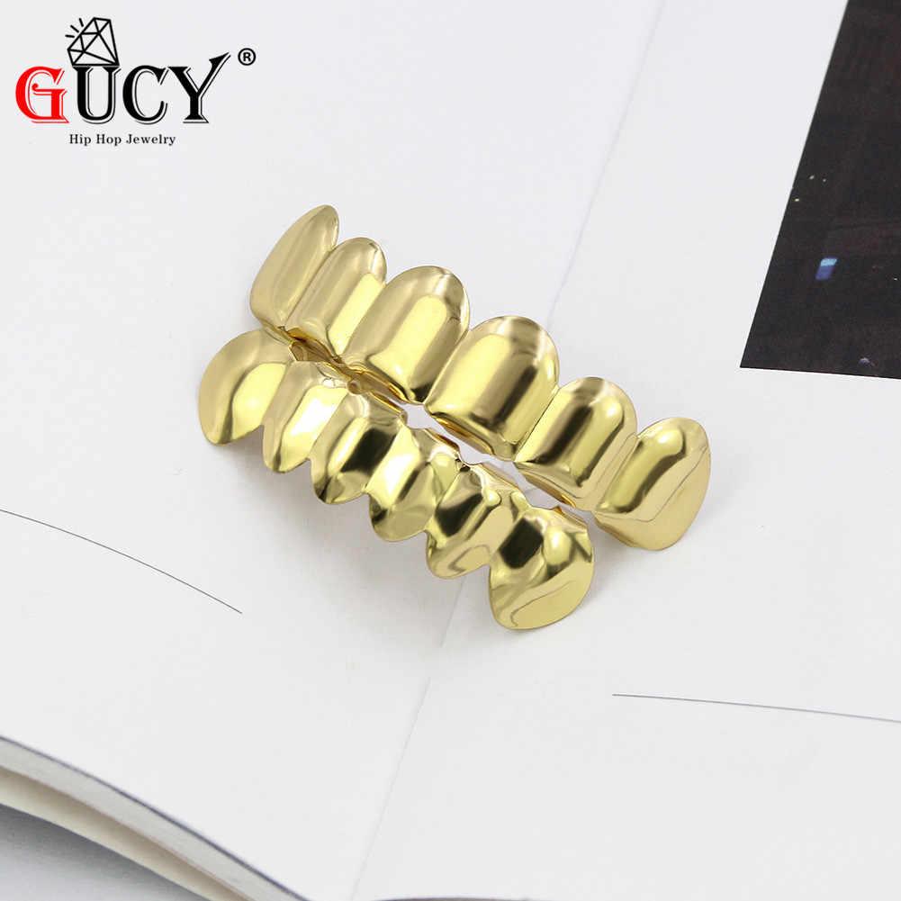 GUCY חדש Fit זהב כסף מצופה היפ הופ שיניים Grillz למעלה & תחתון ערפד ניבים שיניים גריל כובעי סט עם סיליקון