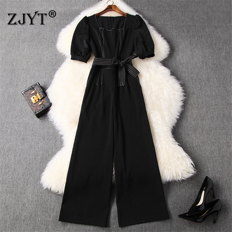 Elegant Summer Jumpsuit Women 2020 New Fashion Puff Sleeve Square Neck Long Overalls Office Party Rompers Womens Jumpsuits