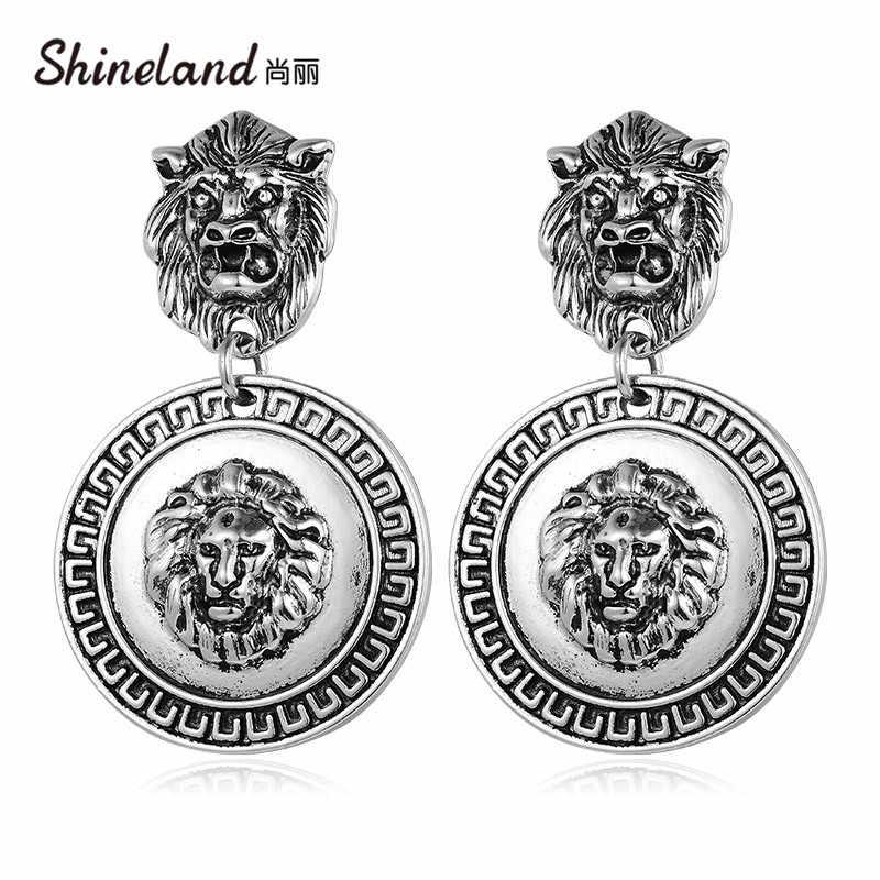 Shineland przesadzone nowy projekt Alloy tłoczone głowa lwa Charms dynda kolczyki dla kobiet w stylu Vintage komunikat Brincos Bijoux