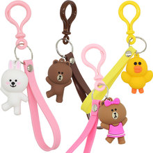High Quality 2019 New Cartoon Brown Bear Keychain Cute Dinosaur Frog Pig Doll Keyrings Kids Toy Key Chain for Women