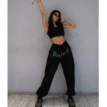 Preto sweatpants feminino hip-hop solto leggings calças novas hip-hop jazz de cintura alta selvagem harem casual maré y2k calças