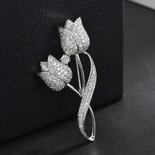 Fashion Tulip Zircon Brooch Pin Dress Decorative Sweater Coat  Scarf Accessori Brooches For Womens