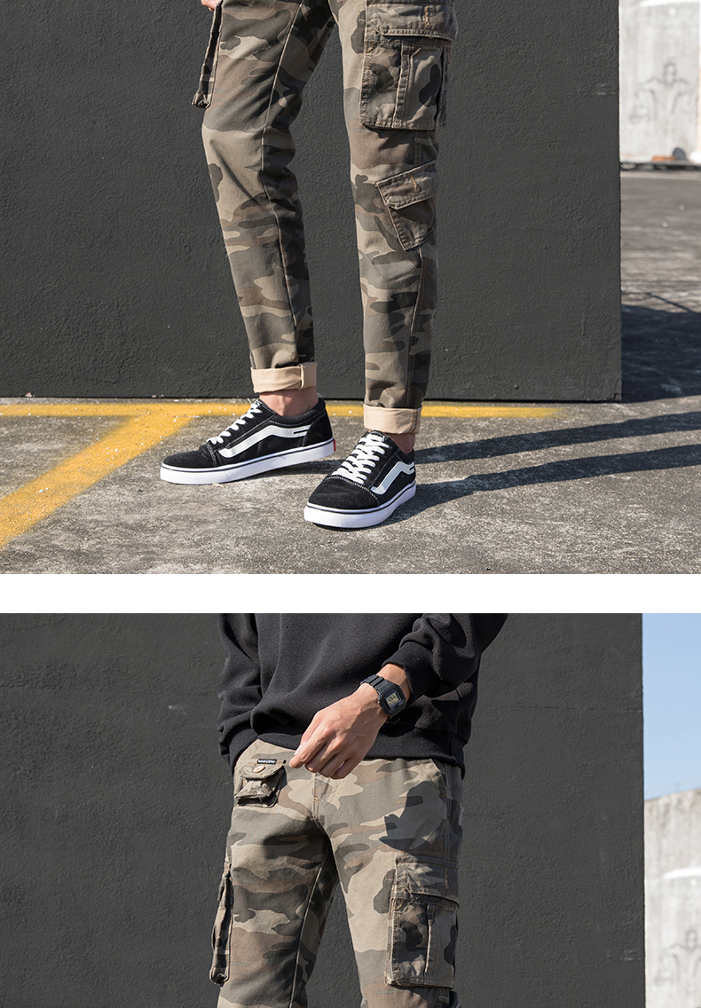 KSTUN Cargo Pants Men Straight Cut 100% Cotton Overalls Casual Pants Men Multi Pockets Camouflage Full Length Trousers Top Quality 14