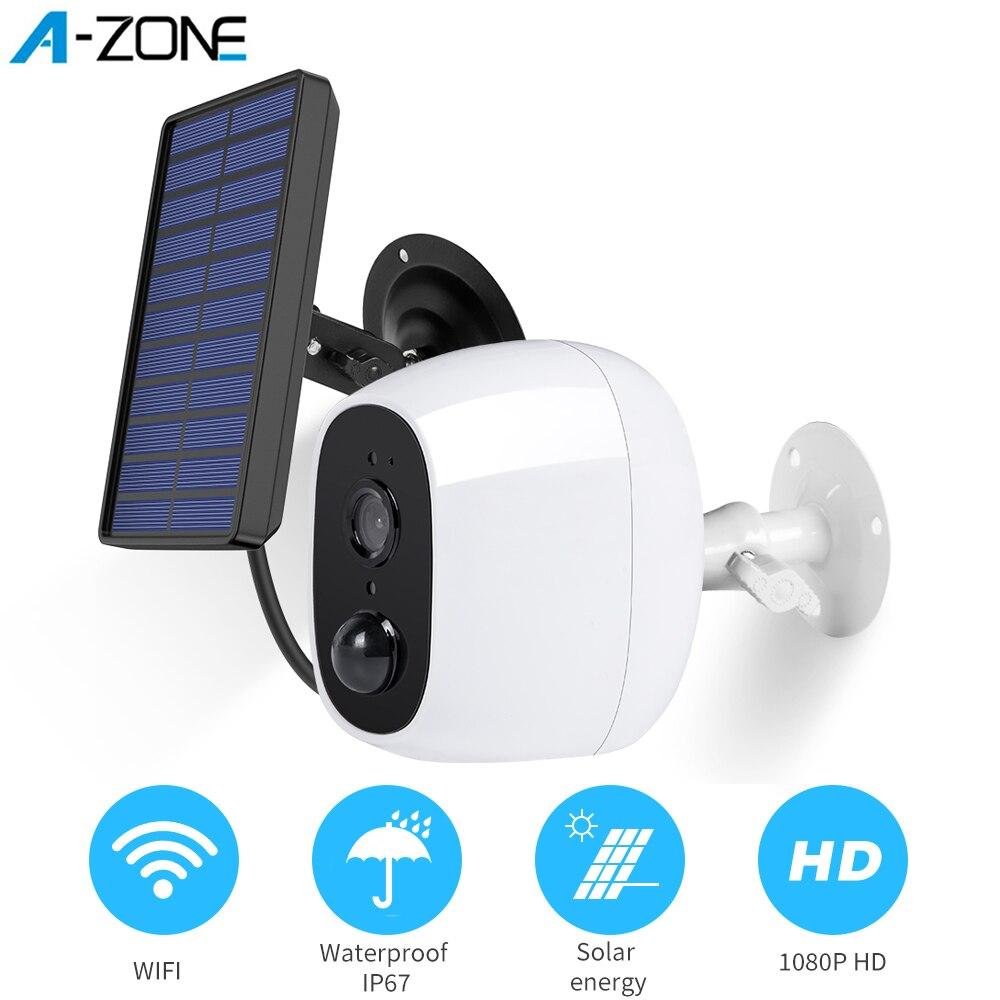 A-ZONE 1080 p ao ar livre câmera solar sem fio wi fi bateria recarregável câmera ip pir sensor de movimento segurança vigilância por vídeo