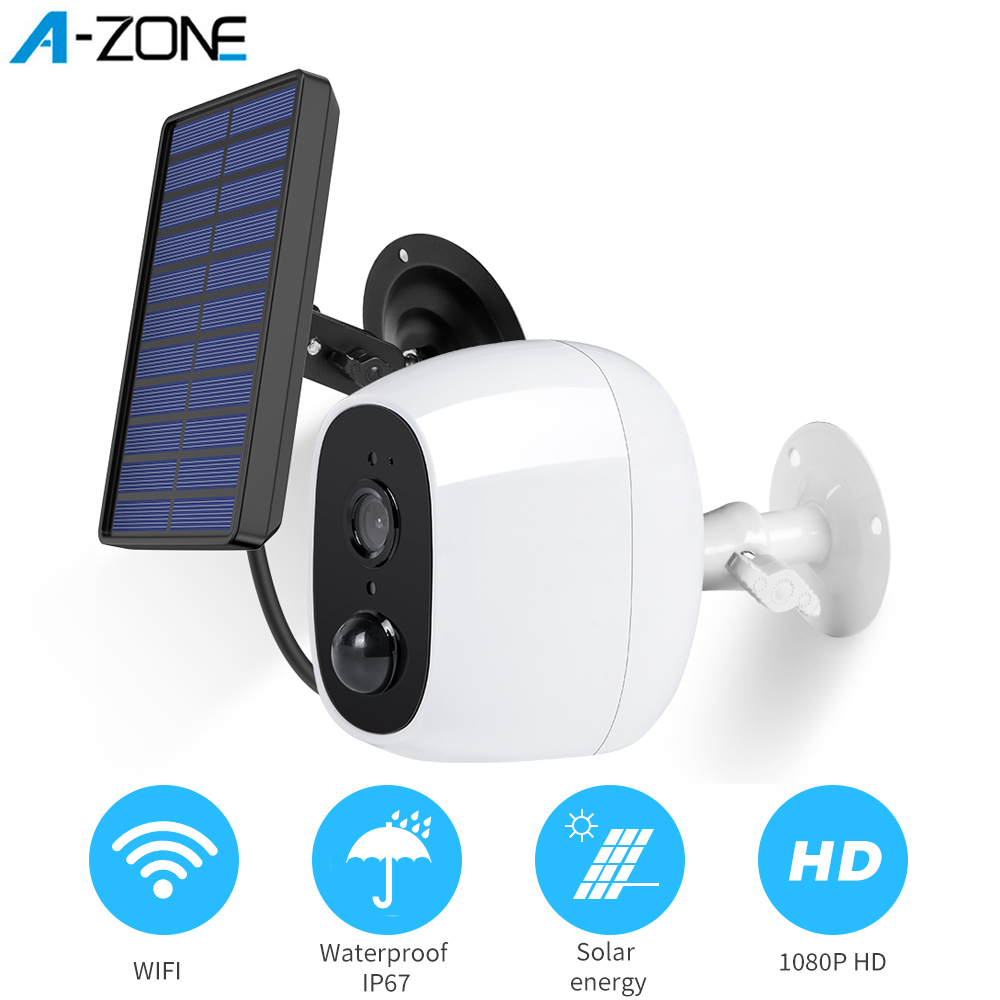 A-ZONE 1080P Outdoor Solar Camera Wifi Wireless Rechargeable Battery IP Camera PIR Motion Sensor Security Video Surveillance