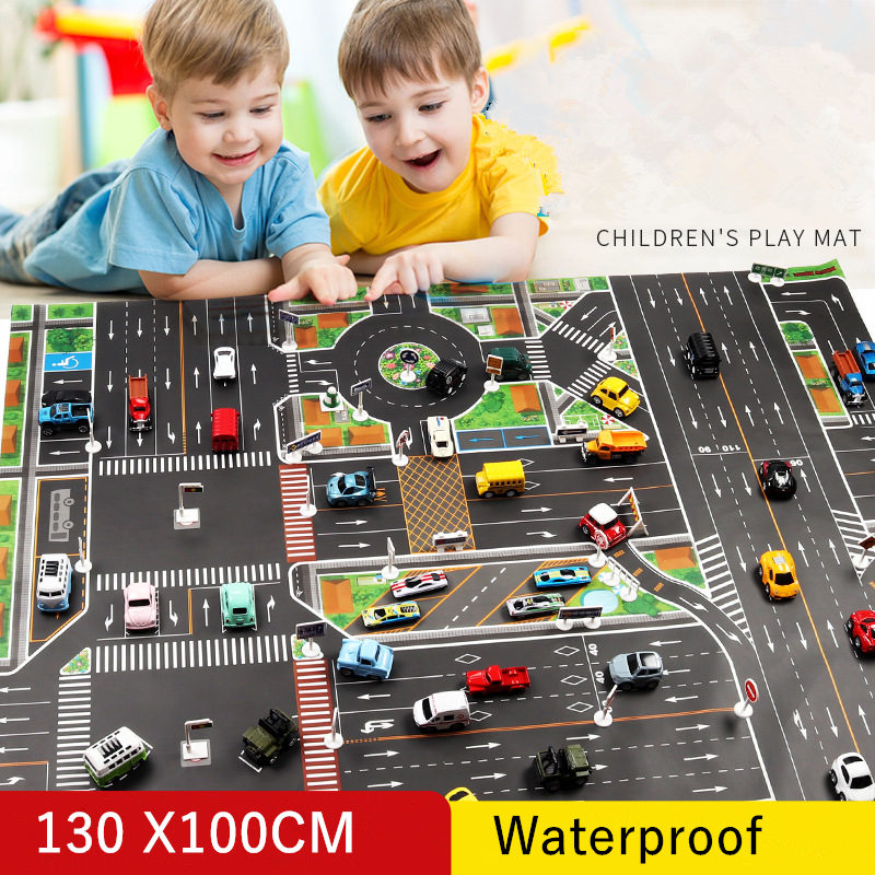 <font><b>130*100CM</b></font> Large City Traffic Car Park Play Mat Waterproof Non-woven Kids Playmat Pull Back Car Toys For Children's Mat image