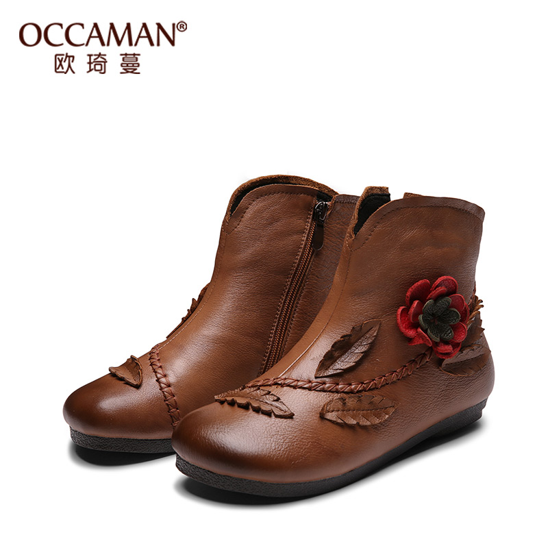 OCCAMAN Fashion Leaf Flower Decorations Warm Shoes Solid Cow Leather Zipper Round Toe Female Plush Retro Boots 13078