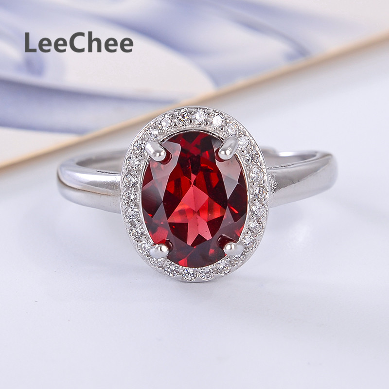 Solid 925 Sterling Silver Garnet Ring Red Gemstone Rings Jewelry Gift  for Women