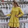 Women Solid Color A-Line Dress Patchwork Design Lace Ruffles Decor O-Neck Long Sleeve High Waist Slim Spring Autumn Mini Dress 3