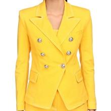 HIGH STREET 2020 Newest Designer Blazer Jacket Women's Lion Buttons Double Breas