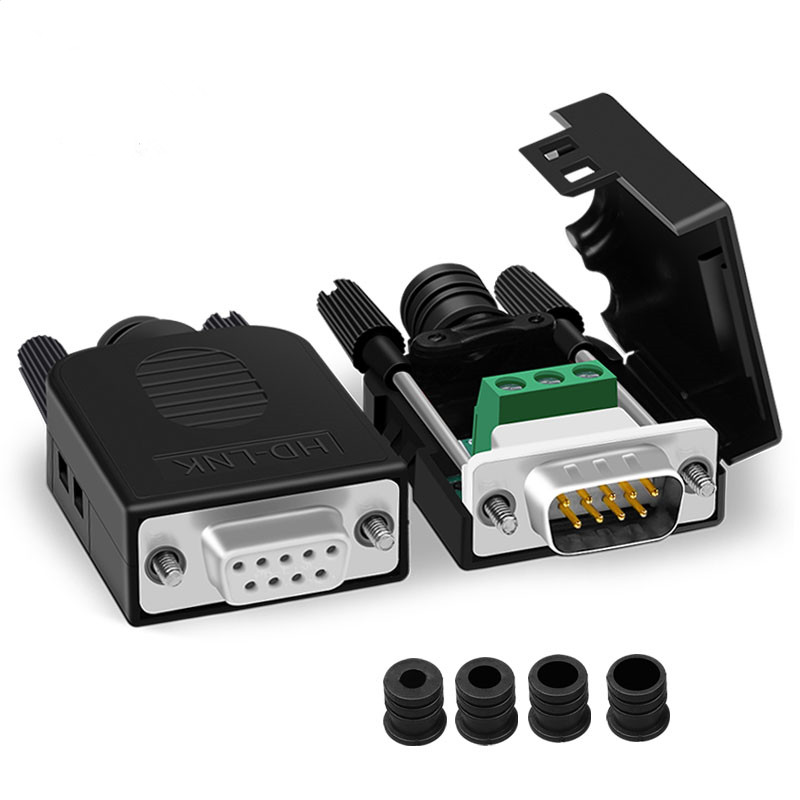 New 9Pin D Sub Connector DB9 COM RS232 Transfer-free Signals Terminals Male/Female Connector Solderless