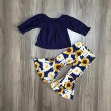 fall/winter baby girls children clothes set outfits boutiquemilk silk navy sunflower ruffles top pants cotton Bell bottoms