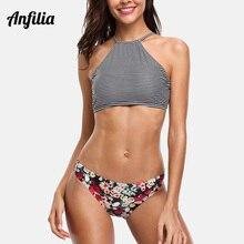 Anfilia Women Striped Bikini Set High Neck Swimsuit Vintage Floral Swimwear Strappy Bathing Suit Padded Beachwear