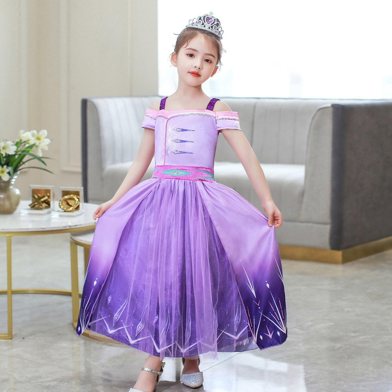 Little Girl Elsa Dress Cosplay Movie Frozen 2 Aisha Princess Costume Purple Suspender Children's Day Birthday Halloween Gift