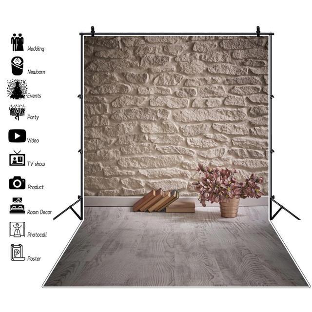 Laeacco Vintage muro di mattoni pavimento in legno libri fiori Grunge ritratto di bambino fondali fotografia sfondi fotografici photzone