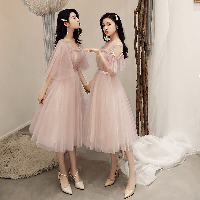 Bridesmaid Dresses Bean Paste Color Banquet Was Thin Tulle Party Dress Sexy Short Women Gala Gown Wedding Guest Dresses Elegant