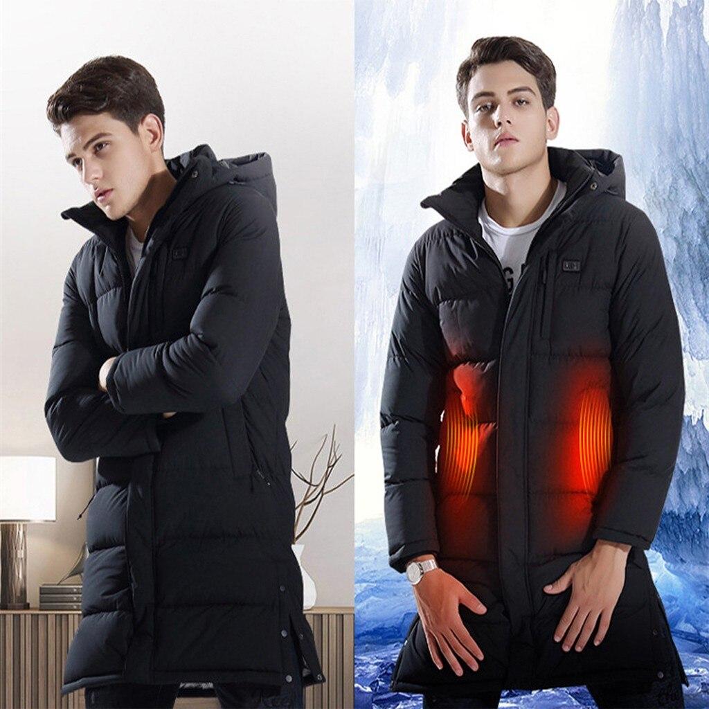 Tide Smart USB куртка с электрическим подогревом для мужчин Высокое качество сплошной черный теплый пуховик на молнии мужской топ с капюшоном толстое длинное пальто - 5