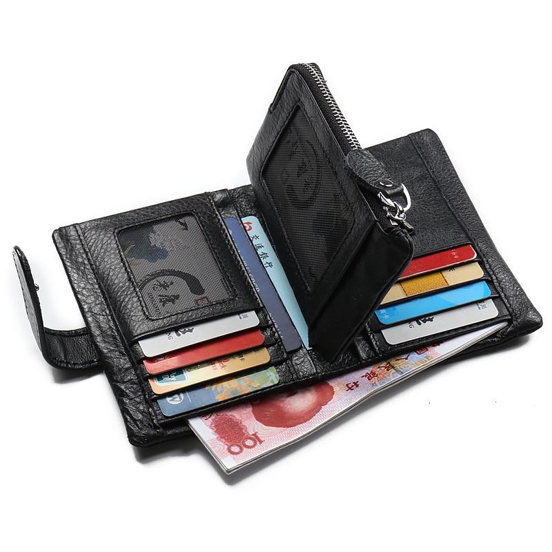 Mode hommes en cuir avec fermoir en aluminium portefeuilles porte-cartes de crédit Dollar embrayage sac d'argent Style restreint portefeuilles pour hommes - 4