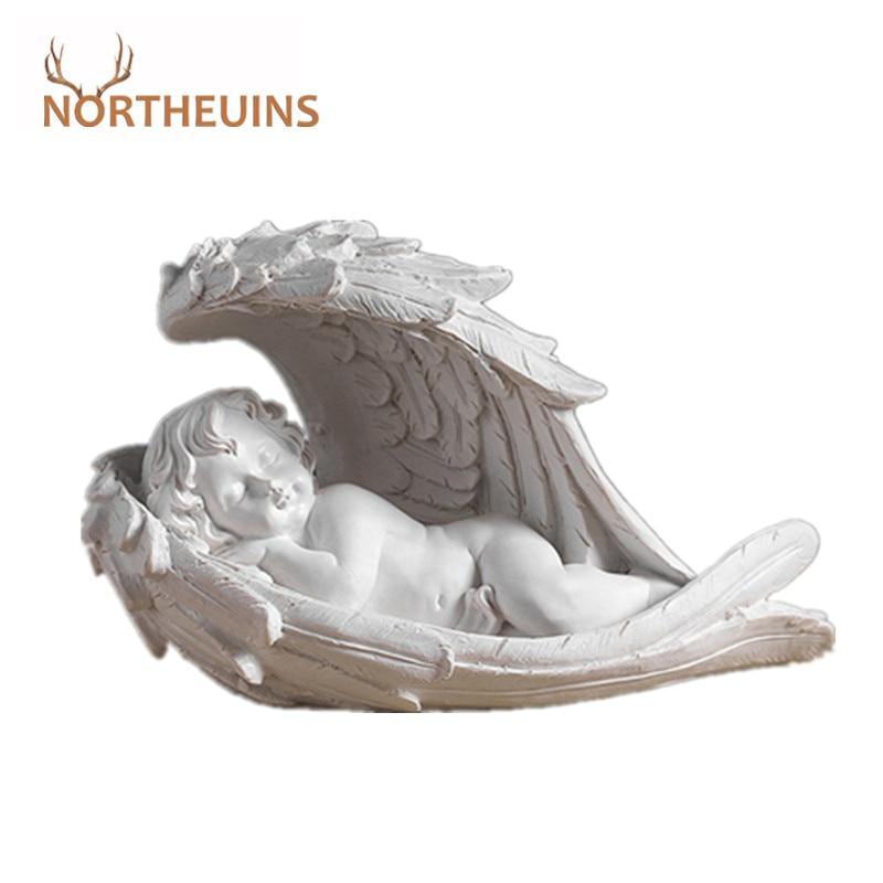 NORTHEUINS Resin Angel Girl Figurines Nordic Fairy Garden Modern Resin Statues For Interior Home Shelf Decoron Christmas Gift
