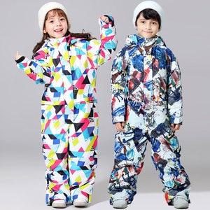 Image 4 - 2019 新スキースーツ少年少女の冬子供防風防水スーパー暖かい雪スキーとスノーボードの服