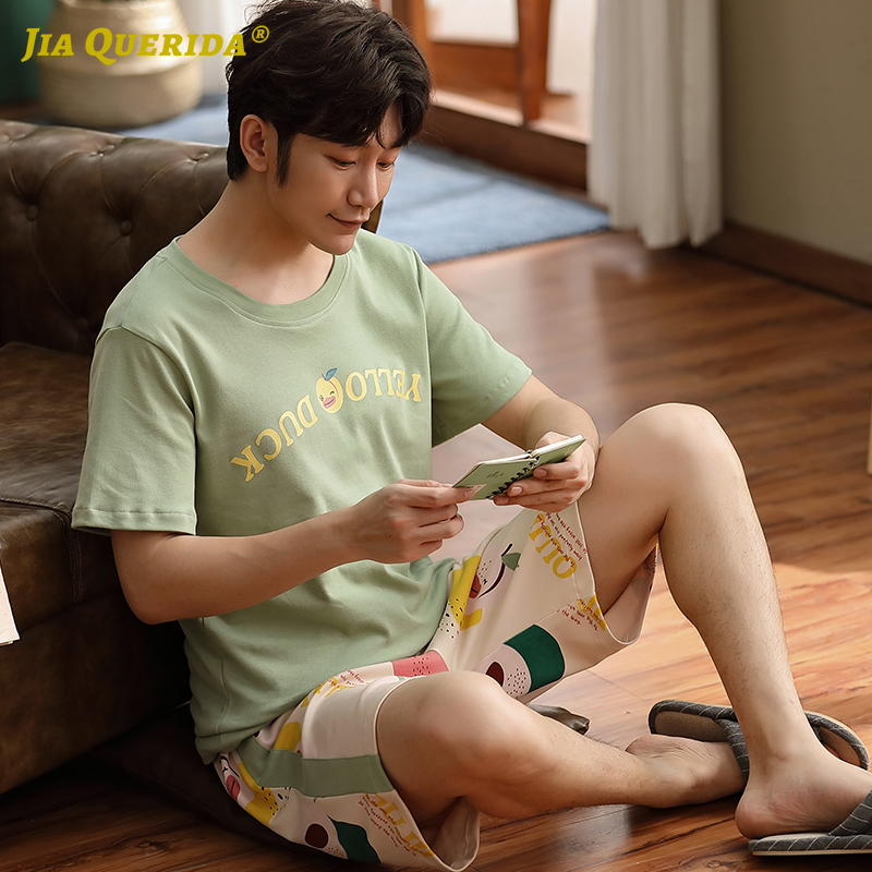 New Green Top Pj Set Summer Men Homesuit Homeclothes Fashion Style Casual Style Short Sleeve Short Pants Crew Neck  Pajamas Set