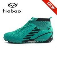 TIEBAO 새로운 도착 발목 축구 부츠 야외 Chuteira TF 잔디 축구 신발 통기성 양말 청소년 운동화 남자 Futbol