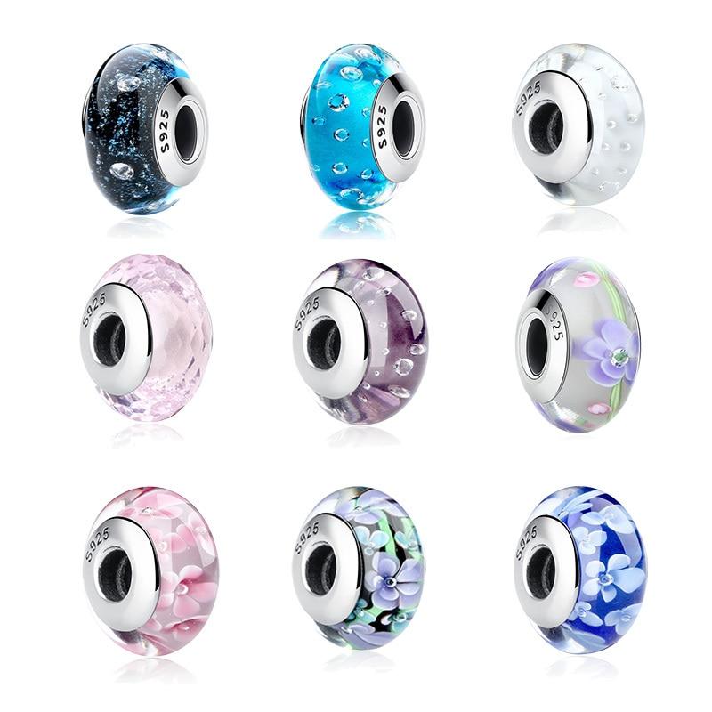 925 sterling silver pandoras murano glass beads(China)