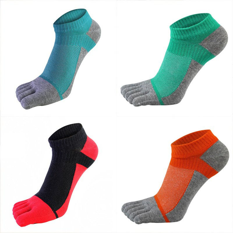 1 Pair Sports Socks Men Women Comfortable Thin Five-finger Socks Section Short Splicing Mesh Stitching Color Cotton Socks