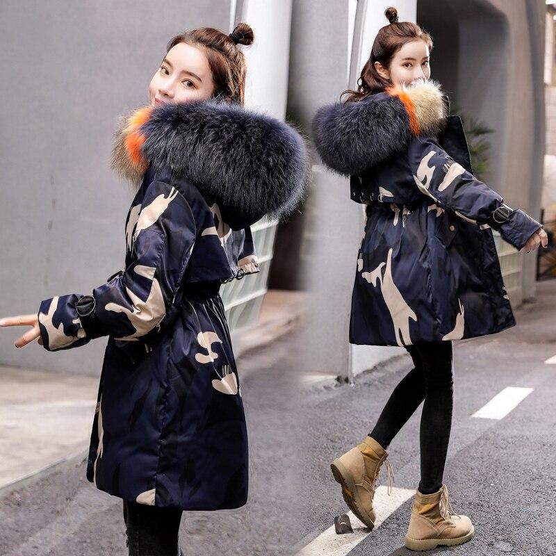 KMETRAM Winter Jacket Women Fur Collar Fashion Parka Women Clothes 2019 Camouflage Thicken Down Coat Female Warm Parkas MY4321