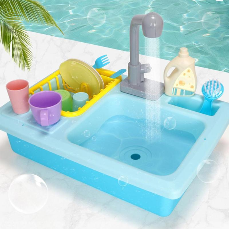 Kids New Plastic Simulation Electric Dishwasher Sink Pretend Play Kitchen Toys Sets For Children Girls Birthday Christmas Gifts
