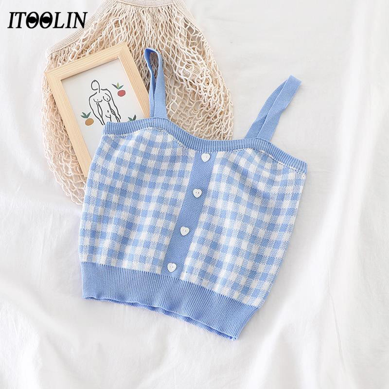 ITOOLIN 2021 Summer Camis Women Cute Plaid Tank Crop Top Corset Knitted Female Cottagecore Stretchy Camisole Soft Girls Bustier